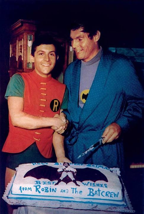 Burt Ward and Adam West celebrating Adam's birthday on the set of Batman