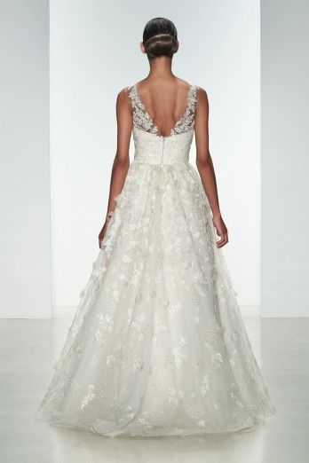 """Amsale Spring 2015 """"Drake"""" gown back. Embellished natural waist ballgown with crystal hand-beading and silk flowers.:"""