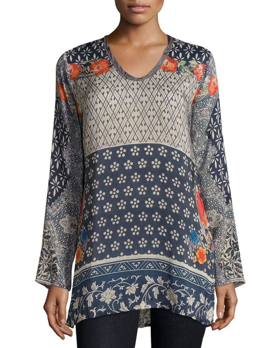 Wish Long Georgette Tunic, Multi, Plus Size