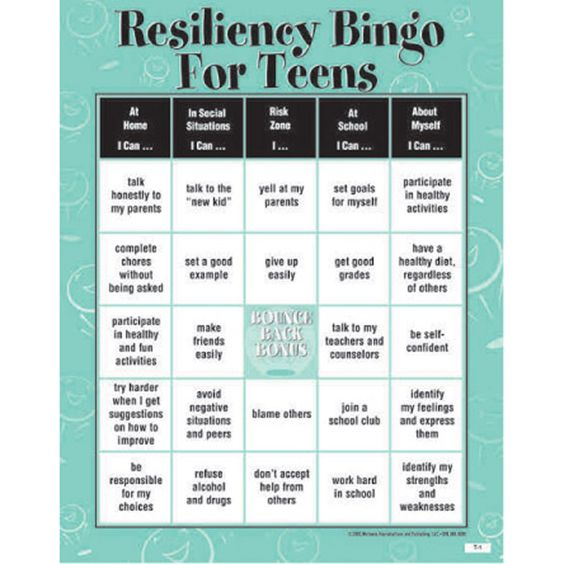 Resiliency Bingo Game For Teens Classroom Activities