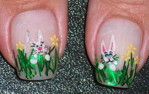 Easter bunnies in grass nail art