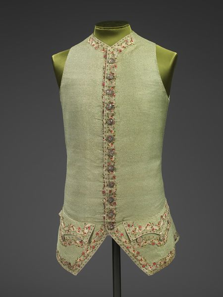 1770-1779, France - Waistcoat - Woven silk with silver thread, enamelling, silver purl & spangles, silk thread; hand-sewn and hand-embroidered