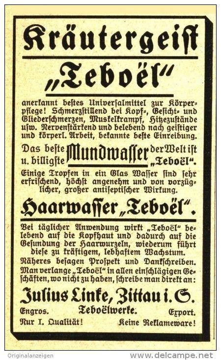 Original-Werbung/ Anzeige 1921 - KRÄUTER-GEIST TEBOËL / JULIUS LINKE - ZITTAU - ca.  55 x 90 mm