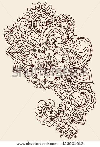 Henna Paisley Flowers Mehndi Tattoo Doodles Design- Abstract Floral Illustration Design Elements - stock vector