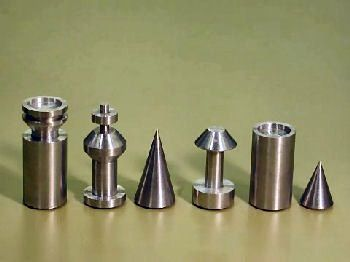Modern retro turned steel chess set MidCentury and Cool