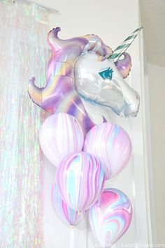 Unicorn balloons at a unicorn themed birthday party by Kara's Party Ideas | Kara Allen | KarasPartyIdeas.com: