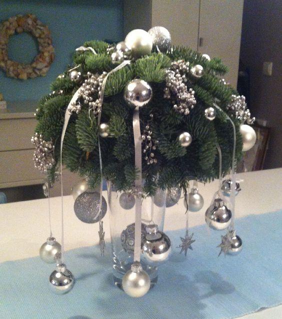 Een piepschuimen halve bol bekleden we met mos en wintergroen. We decoreren de bal en hangen er linten met kerstballen aan. We plaatsen de bol op een hoge glazen vaas die we ook decoreren met kerstdecoratie en kerstverlichting.: