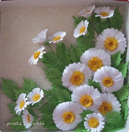Картина панно рисунок Квиллинг Ромашки Бумажные полосы фото 1: