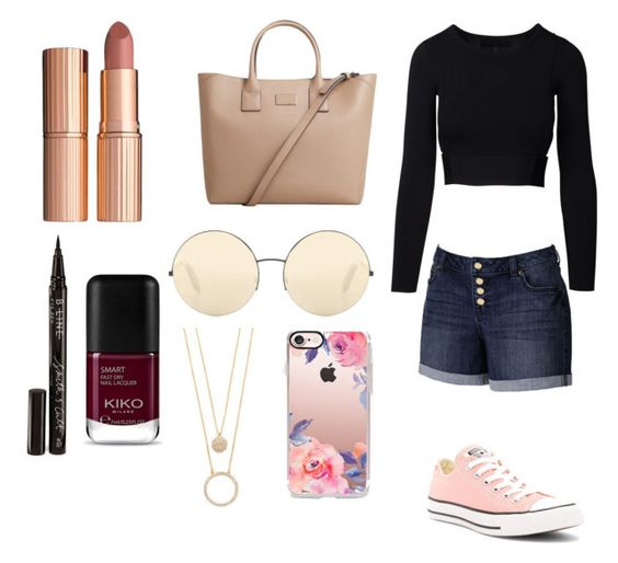 """""""Casual Day Crop Top"""" by ashlynbrianna1108 ❤ liked on Polyvore featuring Converse, Jennifer Lopez, MANGO, Victoria Beckham, Kate Spade, Casetify, Charlotte Tilbury and Smith & Cult"""