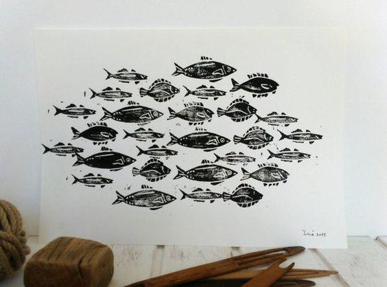 """Illustration A3 """"Banc de poissons """" linogravure noire sur blanc signée"""