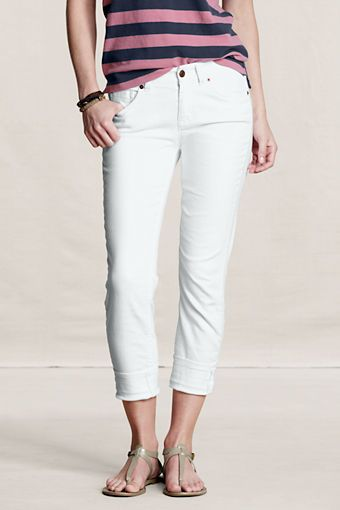 """White Slim Leg Jeans     I just ordered these .   CurvyGirls with STYLE don't shy away from white jeans .     The CurvyStyle TIP :   *Match white jeans up with a great top -- a bit longer so your """"All AmeriCAN"""" is not all over the place -- because that's all people will notice.     Lands' End Canvas White are CurvyGirl Friendly * Patty Approved     White Jeans so Summer .   So American SportsWear.    www.curvygirlstyle.net"""