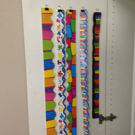 Classroom Border Ideas ~ Bulletin board border storage on door teacher ideas
