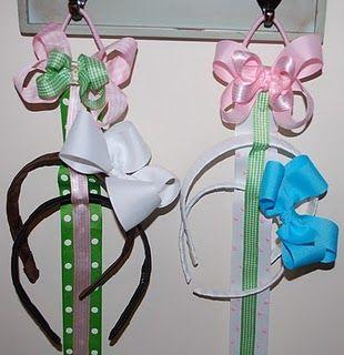 Headband Storage.  Great idea for organizing our bazillions of headbands