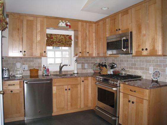 Design inspiration on Pinterest Kitchen Backsplash, Maple Cabinets and Subway Tiles