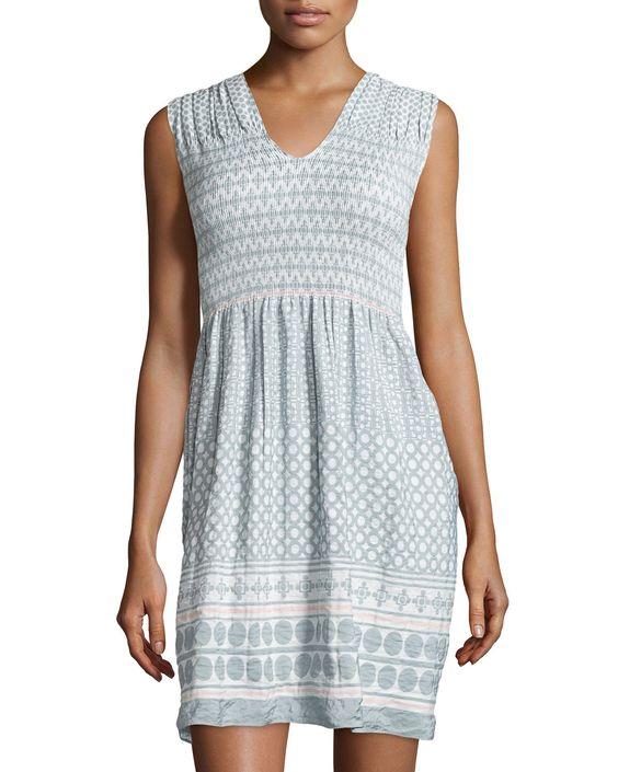 Max Studio Smocked Jacquard Sleeveless Dress, Chalk/Pink Sphere, Women's, Size: XL