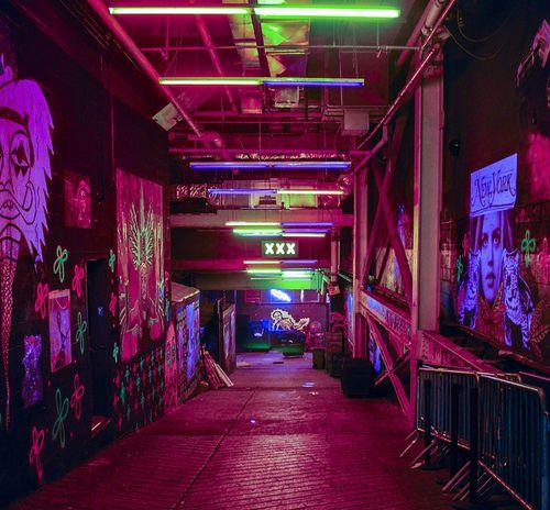 Neon underground, club-like environment