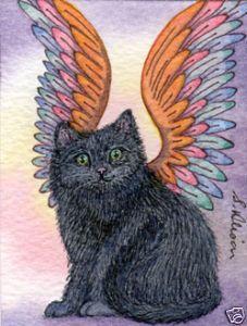 Cat kitten angel fantasy Susan Alison ACEO art print