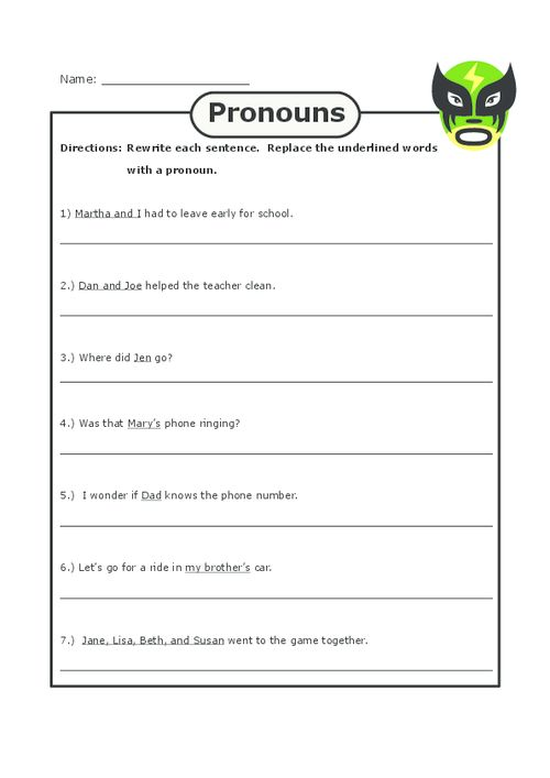 Pronoun Practice 2 – Nouns and Pronouns Worksheet