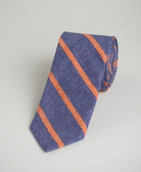 Men's Skinny Necktie  Blue with Orange Red Stripes  by TurnerTies  -  Wedding Groomsmen Tie Orders Upon Request