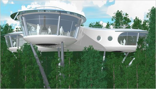 A Future George Jetson Never Imagined Tree Houses Space Age And - Contemporary banyon treehouse california