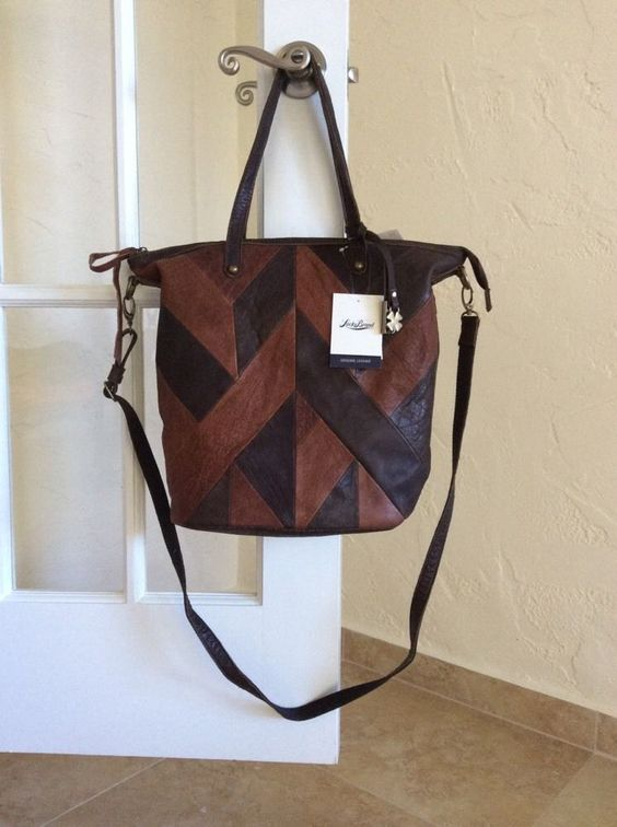 Lucky+Brand+Piece+Train+Leather+Patchwork+Tote+Crossbody+Brandy+LB2031+#LuckyBrand+#TotesShoppers
