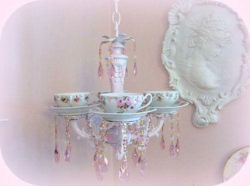 Teacup Chandelier Romancing The Rose Studio Crystal Prisms Lightning