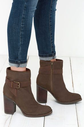 Mia Heritage Eileen Mushroom Brown Leather High Heel Ankle Boots ...