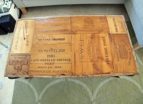 Wine crate table vintage and cigar boxes on pinterest for Vintage wine crate coffee table