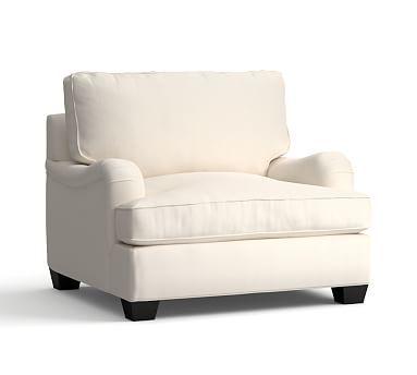 PB Comfort English Arm Upholstered Grand ArmChair, Box Edge Polyester Wrapped Cushions, Sunbrella Performance Boss Tweed Ecru
