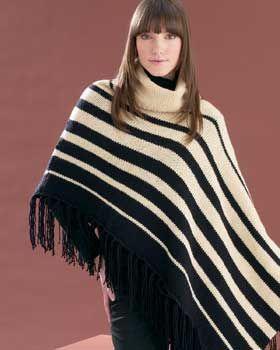 Bernat: Pattern Detail - KW - Asymmetrical Striped Poncho (knit)