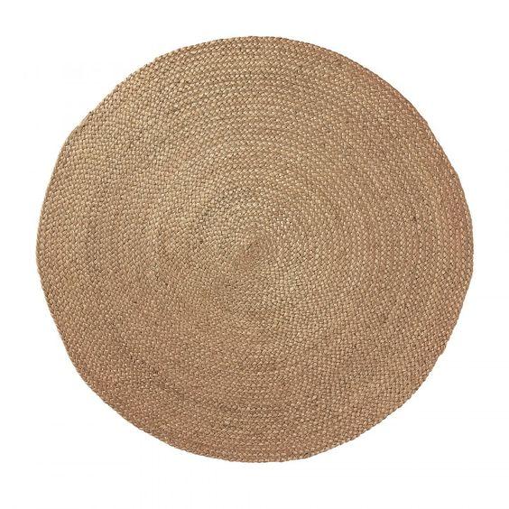 Alfombra redonda en yute color natural.