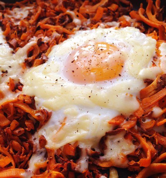 ... and more sweet baked eggs eggs potato hash sweet potato hash potatoes