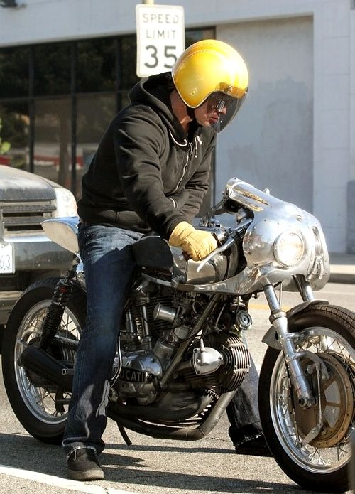 ducati 750 cafe racer | bubble helmet | tan gloves | brad pitt