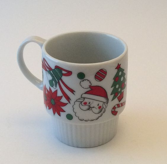 Vintage Christmas Stacking Mug, Santa, Angel, Bells, Candy Cane, Poinsettia, Made in Japan by EastWestVintage1 on Etsy