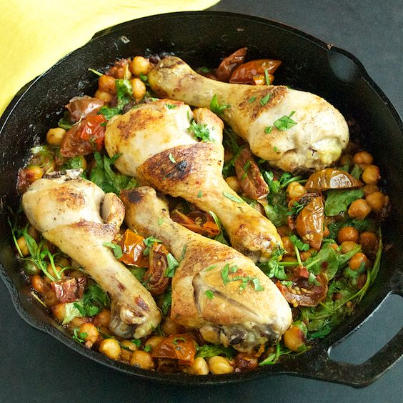 Chicken with Spicy Chickpeas and Arugula - Oui, Chef