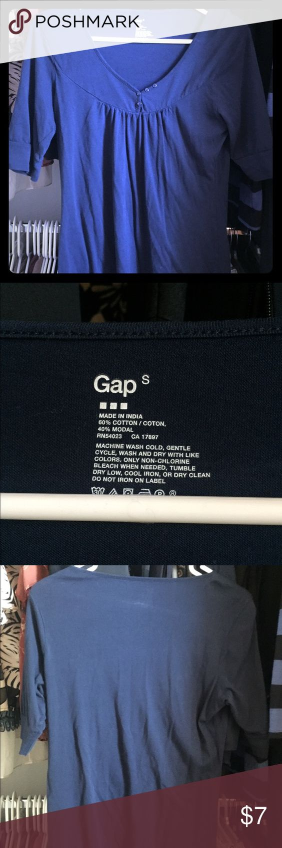 GAP Navy Blue top Navy blue top by GAP. Short sleeve. V neck front with button design. GAP Tops Tees - Short Sleeve