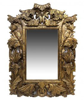 LARGE HEAVILY CARVED BEECHWOOD MIRROR