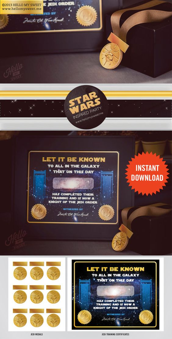 Jedi Training Certificate - INSTANT DOWNLOAD - Star Wars Classic - training certificate