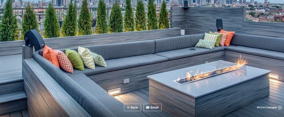 Outdoor patio bench and gas fireplace