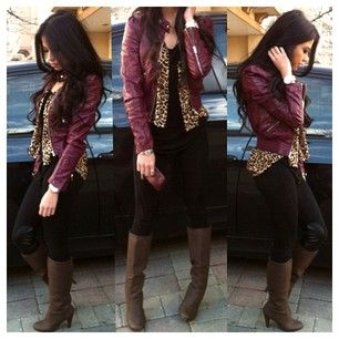 Burgundy Jackets and Leather jackets on Pinterest