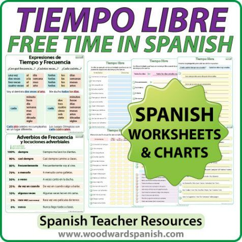 Tiempo Libre - Spanish Free Time Activities Worksheets. | Spanish ...