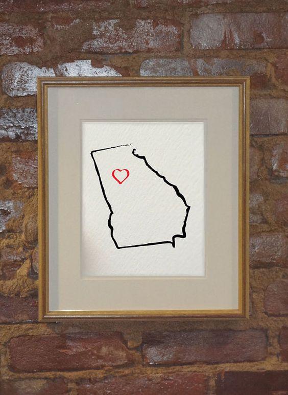 the state of GEORGIA I Heart Atlanta USA 8 x 10 by hunterandsmile, $17.50