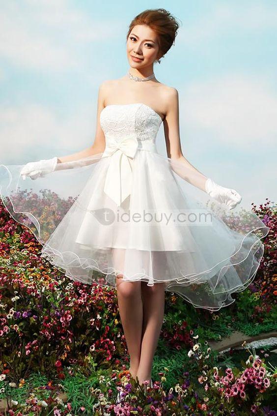 美しいストラップレスAラインちょうミニ長レセプションウェディングドレス