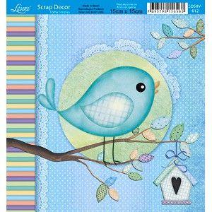 Papel-Scrap-Decor-Folha-Simples-15x15-Passarinho-SDSXV-012---Litoarte