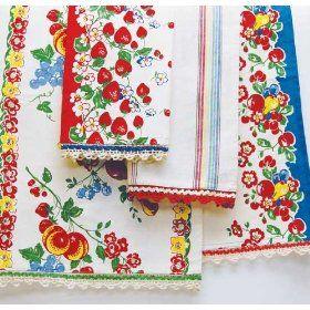 Berries Jubilee Vintage Style Towel Set: Vintage Fabric, Tea Towels, Kitchen Towels, Vintage Linens, Vintage Kitchen, Vintage Tablecloths, Vintage Style