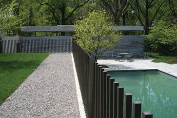 Contemporary steel pool fencing pinned to pool design fencing by