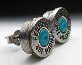 357 Magnum Turquoise Blue Primer Federal Nickel Bullet Head Stud Post Earrings Bullet Jewelry Steampunk