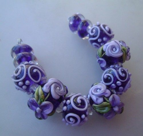 bliss purple delight roses with blossoms and swirls lampwork bead set