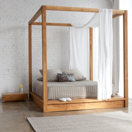 Bedroom, Simple Bedroom Design Ideas With Captivating Wood Canopy Bed Plus White Brick Wall With Floating Nightstand ~ The Great of Wood Canopy Bed Design for Bedroom with All Styles
