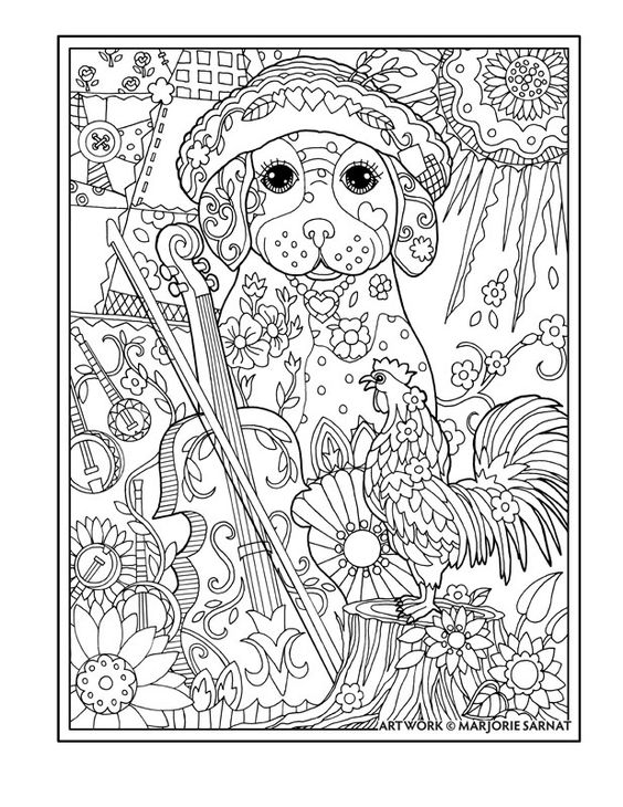 "Creative Haven Dazzling Dogs Coloring Book by Marjorie Sarnat, ""Fiddle Player"":"